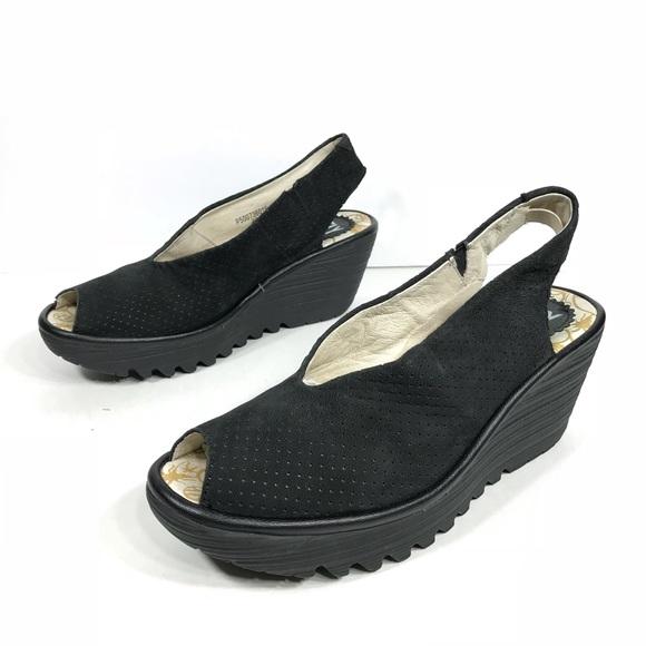 932d73aa66b74 Fly London Shoes - Fly London Yazu Wedge Sling Back Sandal Black
